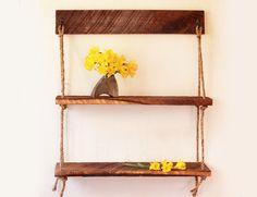 Rope Shelves - Cedar and Walnut hanging shelf - Suspended Rope - Rustic