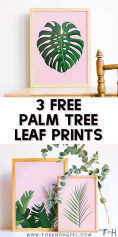 Get these FREE printable fresh & tropical palm tree leaf prints to get ready for summer! Leaf Printables, Printable Leaves, Free Printable Art, Free Printables, Cactus Wall Art, Leaf Wall Art, Pink Wall Art, Free Art Prints, Wall Art Prints