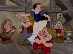 """Snow White and the Seven Dwarfs"" Disney 1937 Snow White dancing to the ""Silly Song"" with the dwarfs"