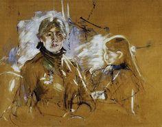 Berthe Morisot (Francia, 14 de enero de 1841 - 1895), Autorretrato con su hija Julie Manet, 1885 #Impresionismo