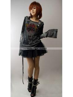 Punk Rave Black-White Gothic Punk Off-Shoulder T-shirt For Women