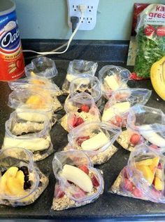 smoothies-prepare them ahead of time and throw them in a blender with almond milk. Seriously, why didn't I think of that!?