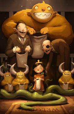 Andrew Bosley - Monsters Trick or Treating Illustration #art #illustration
