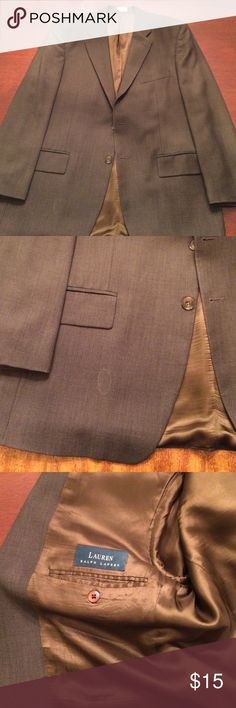 Lauren Ralph Lauren blazer Size 42LL. Pure wool. Has minor damage on the front. Goldiish green chambray pattern. Would be good for a beater jacket, costume or project. Lauren Ralph Lauren Suits & Blazers Sport Coats & Blazers
