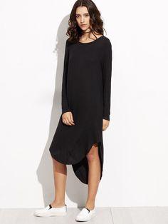 Black Curved Hem High Low Ribbed Dress