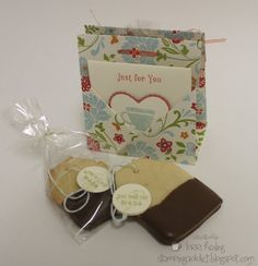 shortbread cookies dipped in chocolate would be cute with tea bag style card with teabags