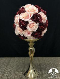 Red and Purple Wedding Ideas to Consider – MyPerfectWedding Flower Ball Centerpiece, Blush Centerpiece, Red Centerpieces, Wedding Centerpieces, Wedding Decorations, Mickey Centerpiece, Crown Centerpiece, Cream Roses, Silk Roses