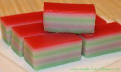 Malaysian Kuih Lapis - coconut layered cake
