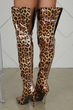 Make your next look pop in these statement leopard booties. These pointed-toe booties make any look from dresses to jeans standout. Model wearing size 7 Fits true to size for most heel Thigh High Boots Heels, Stiletto Boots, Heeled Boots, Animal Print High Heels, Sexy Stiefel, Unique Boots, Leopard Boots, Corporate Fashion, How To Stretch Boots