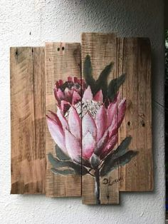 Protea Flor Protea, Protea Art, Protea Flower, Flowers, Pallet Painting, Pallet Art, Painting On Wood, Bird Drawings, Pottery Art