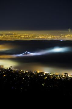 Above the Fog by windycorduroy - Bridges At Night Photo Contest