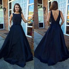Stunning Navy Blue Satin Prom Dresses With Belt,Long Scoop Neckline Backless Evening Dresses