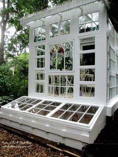 Building a Repurposed Windows Greenhouse you can make a greenhouse inexpensively using old windows! ourfairfieldhomea - Greenhouse - Ideas of Greenhouse Greenhouse Shed, Greenhouse Gardening, Old Window Greenhouse, Large Greenhouse, Outdoor Projects, Garden Projects, Old Windows, Backyard, Patio