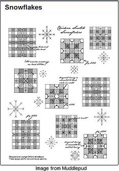Free chickenscratch from Muddlepud - Free chickenscratch from Muddlepud chicken scratch snowflakes Bordado español - Embroidery Patterns Free, Quilt Patterns Free, Stitch Patterns, Embroidery Designs, Needlepoint Patterns, Chicken Scratch Patterns, Chicken Scratch Embroidery, Ribbon Embroidery, Cross Stitch Embroidery