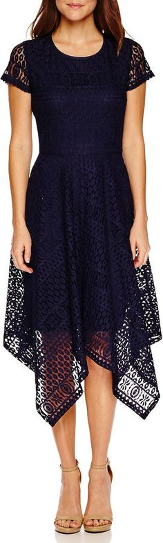 Ronni Nicole Short Sleeve Lace Maxi Dress