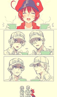 White Cell sama, you did a great job. I'm always thankful for you. Please have some tea before it gets cold. Huh, why are you crying No. Red Cell chan thinks for us. Thanks for the drink/ It's going to get cold. Manga Anime, Blood Anime, Chibi Kawaii, Fan Art Anime, White Blood Cells, Work Memes, Anime Couples, Anime Characters, Fanart