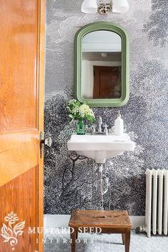 Anthropologie Wallpaper | Miss Mustard Seed | Upstairs Bathroom
