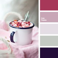 Free collection of color palettes ideas for all the occasions: decorate your house, flat, bedroom, kitchen, living room and even wedding with our color ideas. Cool Color Palette, Pastel Palette, Colour Schemes, Color Combos, Color Borgoña, Pink Color, Burgundy Color, Color Palate, Living Room Kitchen