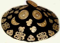 felted headdress with gilt silver decorations Yunnan Province (private collection photo Singkiang)