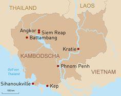 Reisen Kambodscha - Übersichtskarte