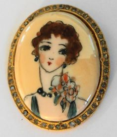 LRG PAINTED CHARMING FLAPPER JEWELED GOLD PLATED BROOCH