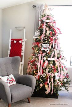 Farmhouse Christmas Tree with Lots of Ribbon - Pretty DIY Home