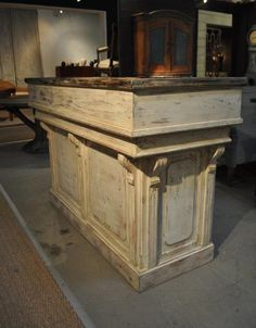 This Distressed white antique repro counter /bar/reception desk/ hostess station is just one of the custom, handmade pieces you'll find in our furniture shops. Store Counter, Retail Counter, Counter Top, Pallette, Hotel Reception, Office Reception, Basement House, Store Displays, Paint Shop