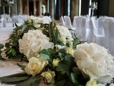Gorgeous top table garland in white and green. Hydrangeas make the perfect focal flower! Table Garland, Table Decorations, Wedding Top Table Flowers, Green Tops, Hydrangeas, Beautiful Flowers, Bloom, How To Make, Pretty Flowers