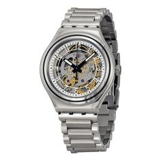 Swatch Uncle Charly Automatic Skeleton Dial Stainless Steel Mens Watch YAS112G. Buy now: http://www.watchvendor.ca/styas112g.html