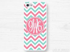 Monogram Phone Case - iPhone 5, 4, Samsung Galaxy s3 s4, Ipod Touch 4, 5 - Chevron - Mint Pink - 0002