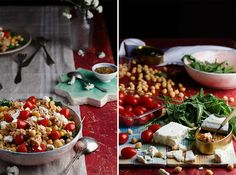 Ingredientes para hacer ensalada de garbanzos: 250gr de garbanzos cocidos Rúcula Tomates cherry Queso feta 2 latas de bonito en aceite de oliva Aceite de oliva Vinagre de manzana Sal Pimienta molida Comino