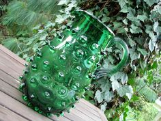 Large Murano Empoli Glass Pitcher / Jar – Italy – Hobnail Glass – Green – 1950s…