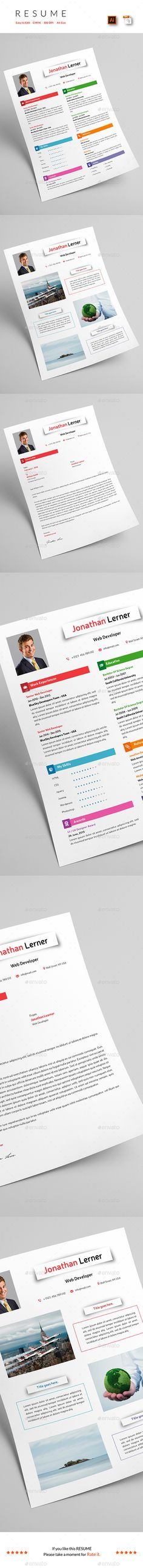 Resume + Portfolio Template Vector EPS & AI. Download here…