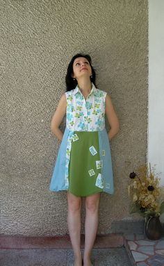 Eco Dress, Shabby Chic Loose Tunic Dress, Artsy Babydoll Dress, Upcycled Clothing by PolyDreams. $52.00, via Etsy.