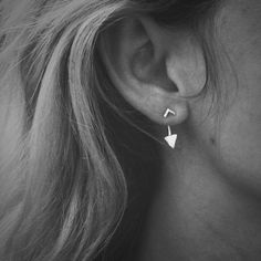 Tiny Hammered Arrow Ear Jacket & Chevron Stud Combo - Sterling Silver - Set of Studs and Jackets - Front Back Earring Set