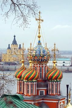 The domes of the incredible  baroque church Nativity (Stroganov)  in the background,  the Oka River, Alexander Nevsky Cathedral  (Novgorod, Russia / 499 pins at time of repinning