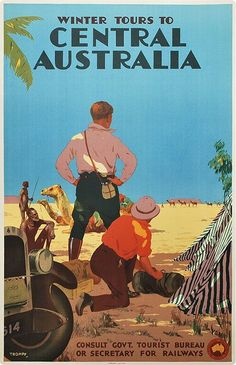 Winter Tours to Central Australia vintage travel poster by Percy Trompf