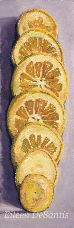 Titled: Sliced Lemon I wanted to paint a still life in a different way, showing the lemon sliced and having its slices fanned out like a deck of