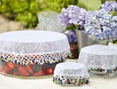 Beaded Food Covers - From Lakeland Tapas, Food Net, Popular Crochet, How To Make Jam, My Sewing Room, Outdoor Food, Crochet Doilies, Bead Crochet, Home Decor Furniture