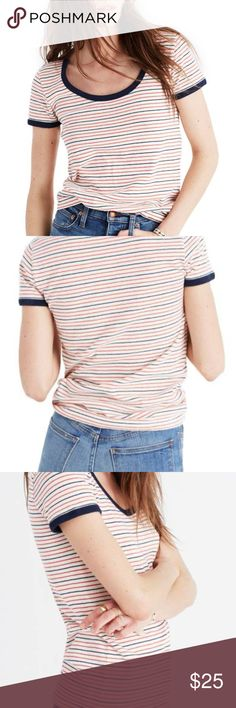 Stripe Recycled Cotton Ringer Tee Adorable top, looks great with some high waisted jeans, selling because it's just a bit too small for me.   Condition: No flaws, like-new. This is a re-posh and previous posher says it was only worn twice. I have never worn it.   Very stretchy 100% cotton   Black neck and sleeves, black and red stripes on white body  Madewell says: Retro-inspired contrast binding adds sporty charm to a casual-cool fitted tee knit from recycled cotton. Madewell Tops Tees…