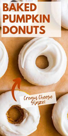 Baked Pumpkin, Pumpkin Recipes, Fall Recipes, Holiday Recipes, Pumpkin Donuts Recipe Baked, Pumkin Donuts, Donut Recipes, Baking Recipes, Dessert Recipes