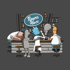 TV Cartoon Mashup T-Shirt by Delmas Olivier aka theduc. Homer Simpson, Peter Griffin, Bender, and Rick Sanchez are having a drink at Roger's Place. American Dad, Homer Simpson, Cartoon Kunst, Cartoon Art, Cartoon Crossovers, Cartoon Characters, Rick And Morty Poster, Peter Griffin, Futurama
