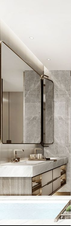 Discover the latest bathroom design trends for your amazing project, and create the bathroom of your dreams with these inspirational design ideas! Luxury Bathroom Vanities, Bathroom Design Luxury, Bath Design, Modern Bathroom, Home Design, Mirror Bathroom, Public Bathrooms, Dream Bathrooms, Luxury Bathrooms