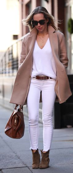 Camel And White Inspiration Outfit by Brooklyn Blonde