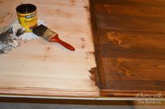 Farmhouse Table Staining - includes directions on what she did and what stain and wax