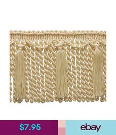 Navy and gold silk upolstery and curtain fringe