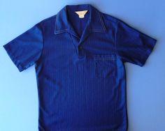 1960's Vintage Men's Shirt ~ California Deep Blue Short Sleeve Shirt With Collar And Cigarette Pocket ~ Now Phone Pocket ~ Size Medium