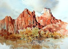 View from the amphitheater in Zion Natl. watercolor 11 X 14 inches Watercolor Landscape, Watercolor Paintings, Watercolors, Watercolor Canvas, Watercolor Techniques, Zion Park, Happy Little Trees, Mountain Art, Character Illustration