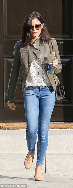green bomber jacket - white lace shell - skinny jeans - nude flats - oversized sunnies - black shoulder bag | jenna dewan tatum