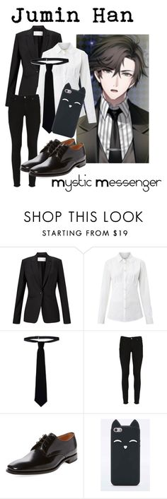 """""""Jumin Han from Mystic Messenger"""" by kayxiv1256 ❤ liked on Polyvore featuring HUGO, Weekend Max Mara, RED Valentino, Paige Denim and Loake"""
